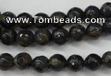 CGO171 15.5 inches 6mm faceted round gold blue color stone beads