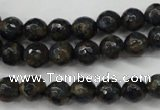 CGO172 15.5 inches 8mm faceted round gold blue color stone beads