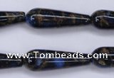 CGO188 15.5 inches 8*20mm teardrop gold blue color stone beads