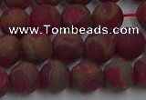 CGO252 15.5 inches 8mm round matte gold multi-color stone beads