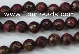 CGO63 15.5 inches 8mm faceted round gold red color stone beads