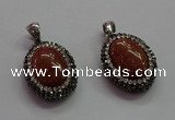 CGP1509 18*25mm oval goldstone pendants wholesale