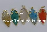 CGP3008 22*45mm arrowhead agate gemstone pendants wholesale