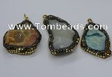 CGP3083 40*50mm - 45*55mm freeform druzy agate pendants