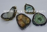 CGP3085 40*50mm - 45*55mm freeform druzy agate pendants