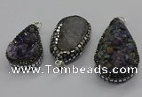 CGP3100 25*40mm - 30*65mm freeform plated druzy amethyst pendants