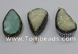 CGP3113 30*55mm flat teardrop druzy agate pendants wholesale