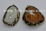 CGP3117 30*45mm - 40*55mm freeform druzy agate pendants