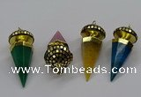 CGP3156 22*50mm faceted cone agate gemstone pendants wholesale