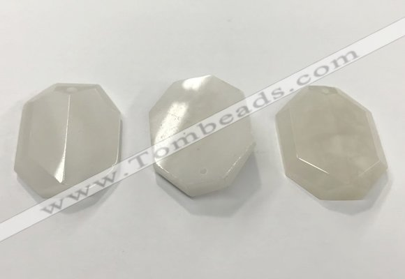 CGP3605 35*45mm faceted octagonal white jade pendants wholesale