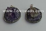 CGP366 30*40mm - 35*45mm freeform crystal glass & amethyst pendants