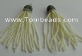 CGP418 3mm round handmade glass beaded tassel pendants wholesale
