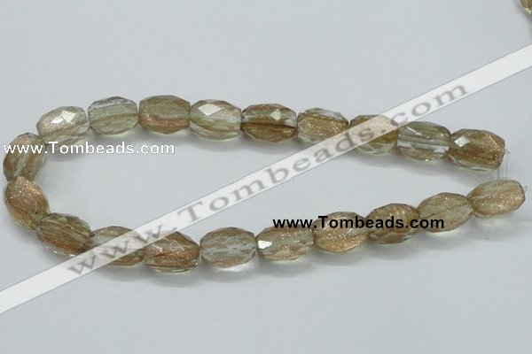 CGQ06 15.5 inches 15*20mm faceted egg-shaped gold sand quartz beads