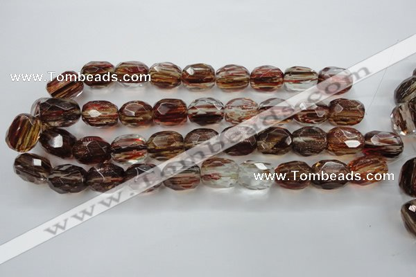 CGQ07 15.5 inches 15*20mm faceted egg-shaped gold sand quartz beads
