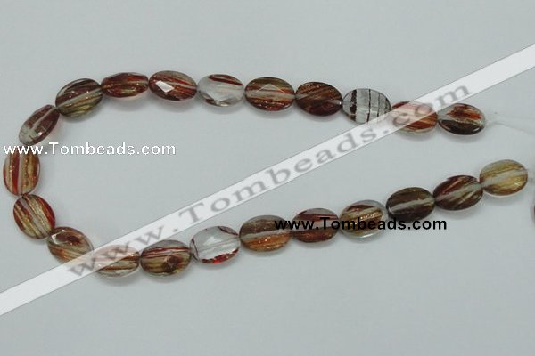 CGQ10 15.5 inches 13*18mm faceted oval gold sand quartz beads