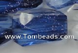 CGQ108 30*40mm faceted & twisted rectangle blue gold sand quartz beads