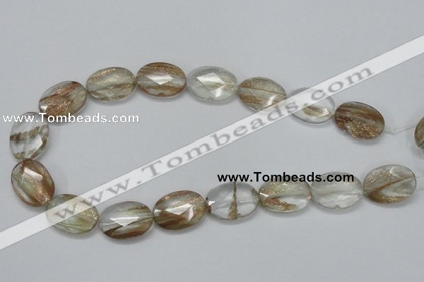 CGQ12 15.5 inches 18*25mm faceted oval gold sand quartz beads