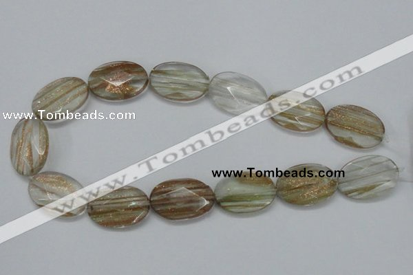 CGQ14 15.5 inches 20*30mm faceted oval gold sand quartz beads
