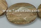 CGQ15 15.5 inches 30*40mm faceted oval gold sand quartz beads