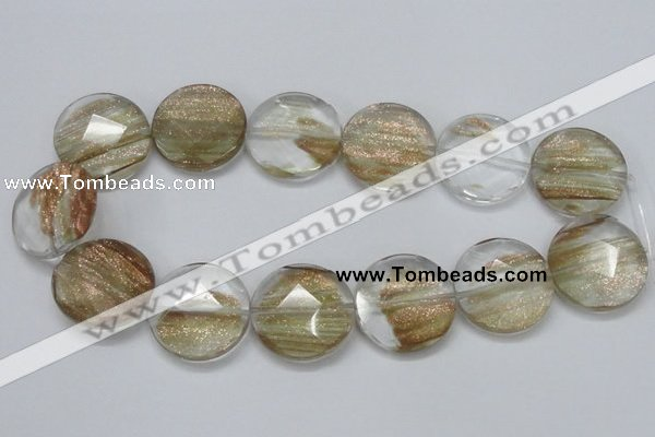 CGQ16 15.5 inches 30mm faceted flat round gold sand quartz beads