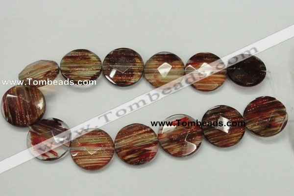 CGQ17 15.5 inches 30mm faceted flat round gold sand quartz beads