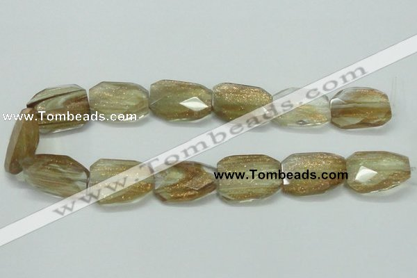 CGQ18 20*30mm faceted & twisted rectangle gold sand quartz beads