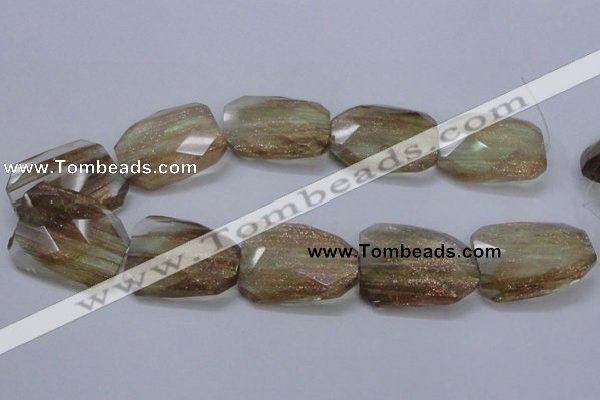CGQ19 30*40mm faceted & twisted rectangle gold sand quartz beads