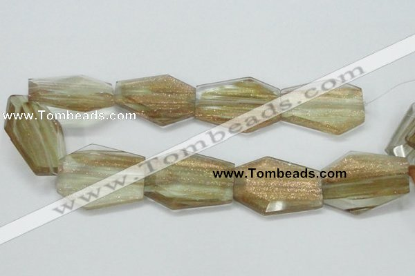 CGQ20 15.5 inches 35*45mm faceted hexagon gold sand quartz beads