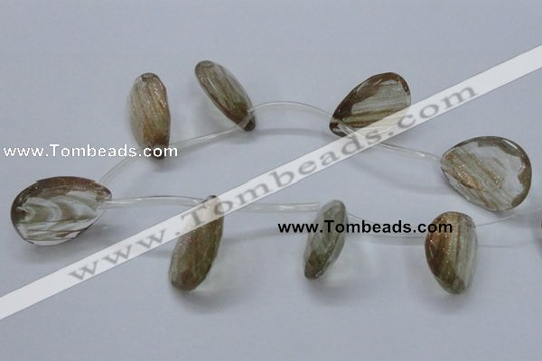 CGQ21 15.5 inches 30*40mm faceted flat teadrdrop gold sand quartz beads
