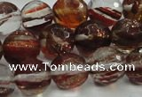 CGQ32 15.5 inches 8mm faceted round red gold sand quartz beads