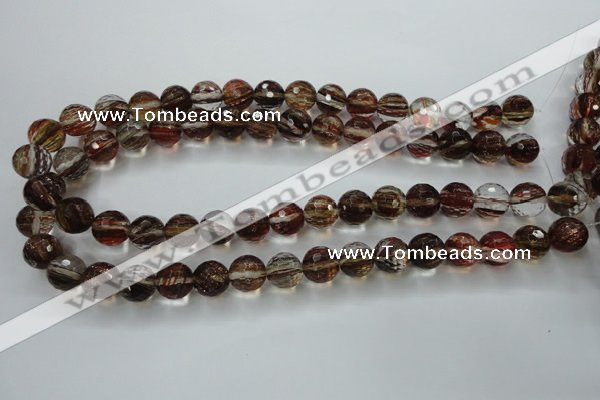 CGQ34 15.5 inches 12mm faceted round red gold sand quartz beads