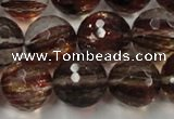 CGQ35 15.5 inches 14mm faceted round red gold sand quartz beads