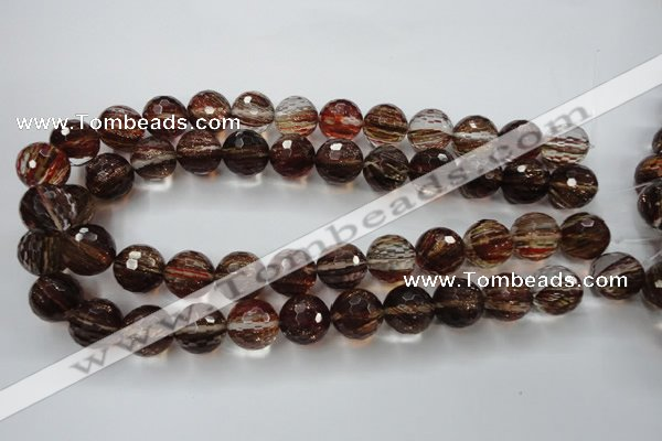 CGQ36 15.5 inches 16mm faceted round red gold sand quartz beads