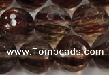 CGQ37 15.5 inches 18mm faceted round red gold sand quartz beads
