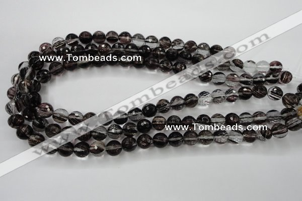 CGQ40 15.5 inches 10mm faceted round black gold sand quartz beads