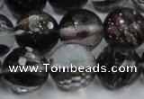 CGQ41 15.5 inches 12mm faceted round black gold sand quartz beads