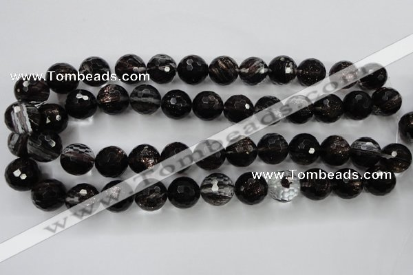 CGQ43 15.5 inches 16mm faceted round black gold sand quartz beads