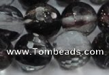CGQ44 15.5 inches 18mm faceted round black gold sand quartz beads