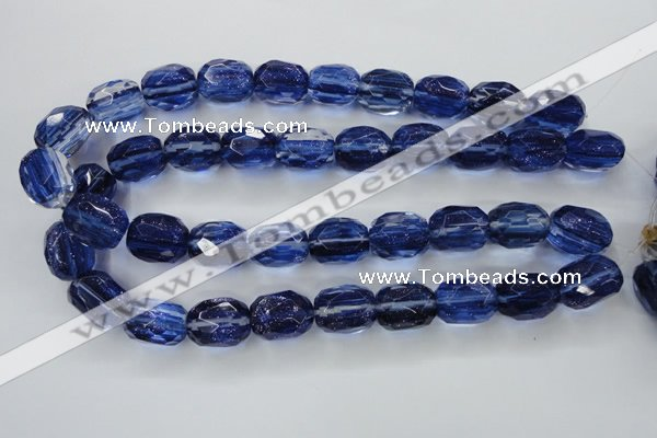 CGQ48 15.5 inches 15*20mm faceted egg-shaped blue gold sand quartz beads