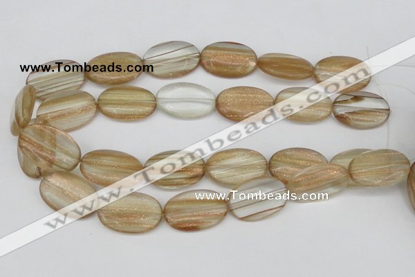 CGQ55 15.5 inches 20*30mm oval gold sand quartz beads wholesale