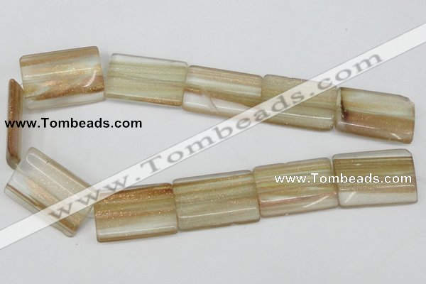 CGQ56 15.5 inches 24*35mm flat tube gold sand quartz beads wholesale