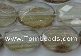 CGQ72 15.5 inches 15*20mm faceted oval gold sand quartz beads