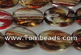 CGQ76 15.5 inches 12*16mm faceted oval red gold sand quartz beads