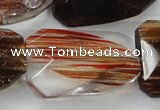 CGQ83 30*40mm faceted & twisted rectangle red gold sand quartz beads