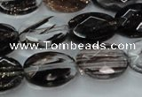 CGQ87 15.5 inches 12*16mm faceted oval black gold sand quartz beads