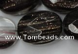 CGQ91 15.5 inches 30*40mm faceted oval black gold sand quartz beads