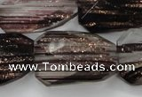 CGQ93 20*30mm faceted & twisted rectangle black gold sand quartz beads