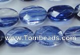 CGQ98 15.5 inches 10*14mm faceted oval blue gold sand quartz beads