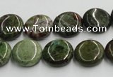 CGR16 16 inches 14mm flat round green rain forest stone beads wholesale
