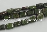 CGR17 16 inches 6*8mm rectangle green rain forest stone beads wholesale